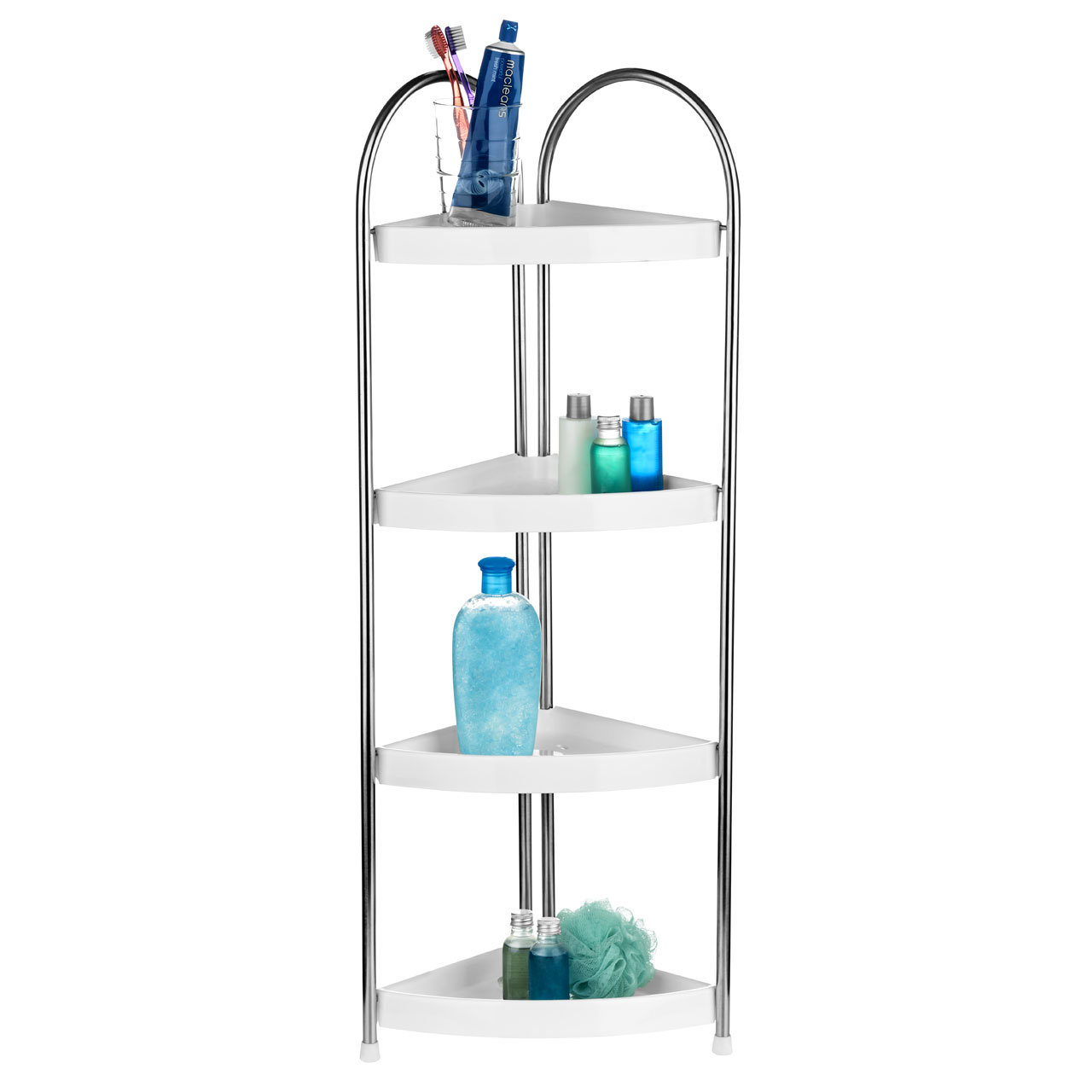 4 Tier White Bathroom Corner Stand, Stainless Steel Frame Home ...