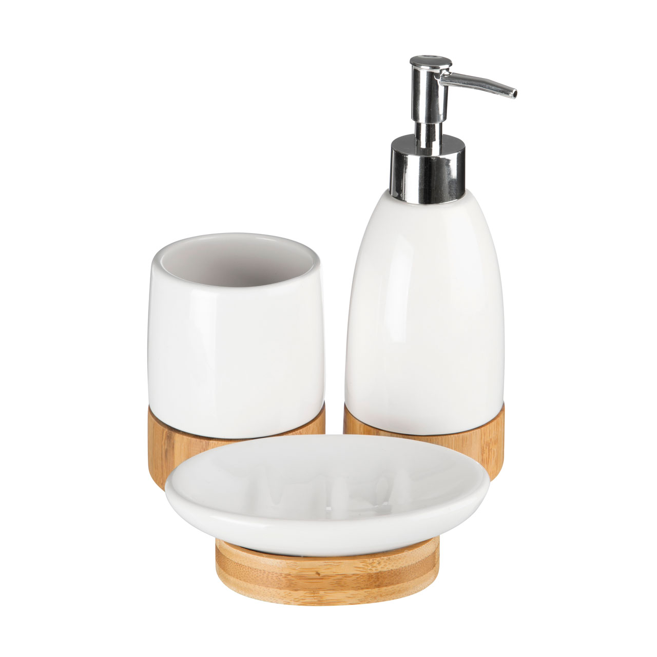 Premier 3pc Bamboo Chic Bathroom Set Tumbler Soap Dish Lotion