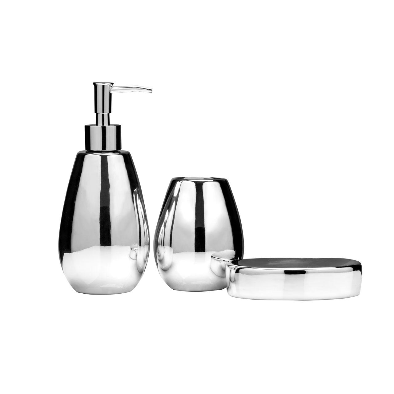 Premier housewares magpie silver bathroom accessory set for Silver bathroom accessories set