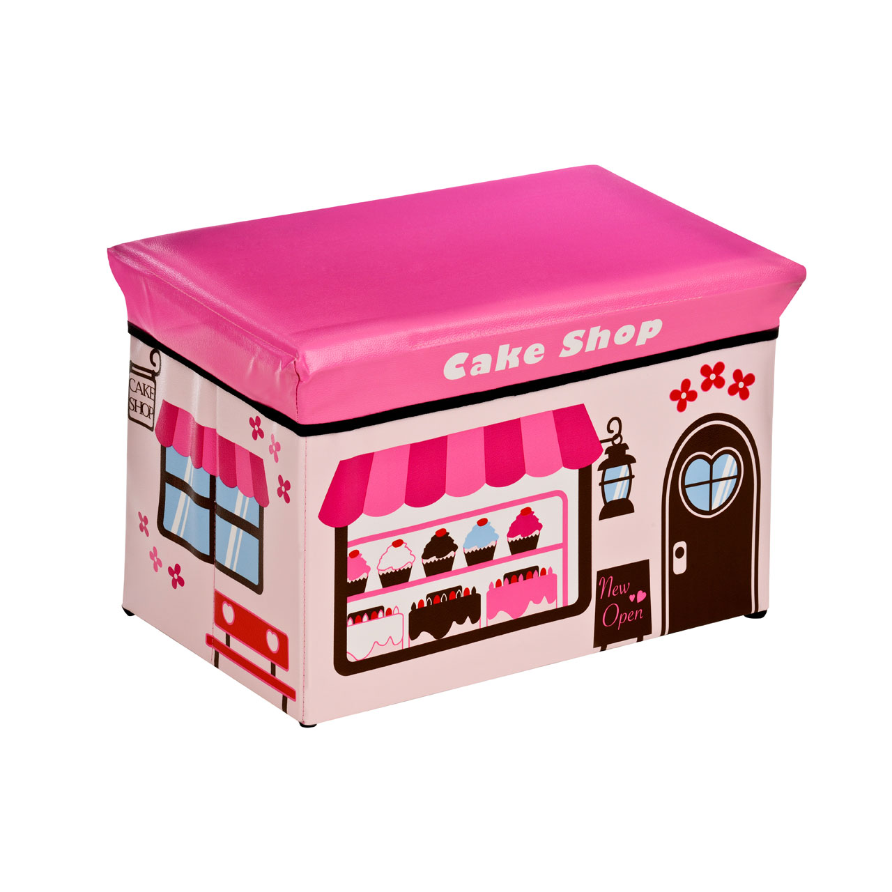 Details About Kids Cake Shop Design Storage Box Childrens Chest With Padded Lid For Sitting