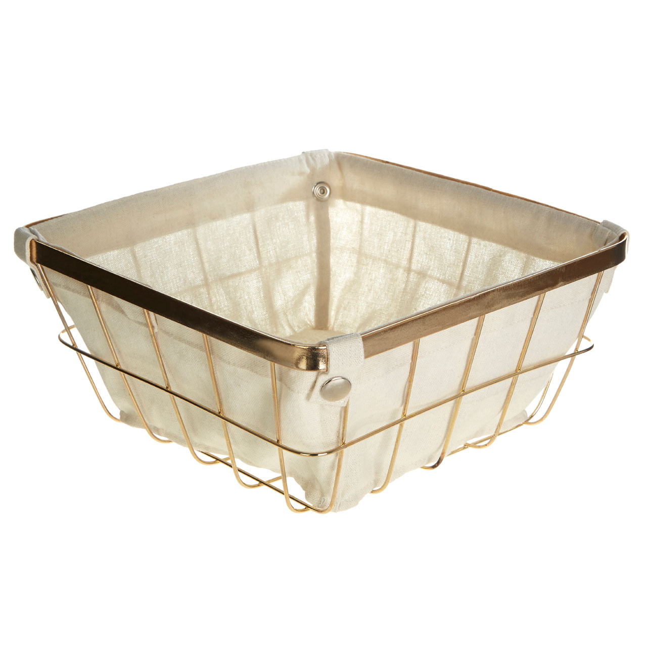 Premier Housewares Square Storage Basket, Gold Plated Wire, Cotton ...