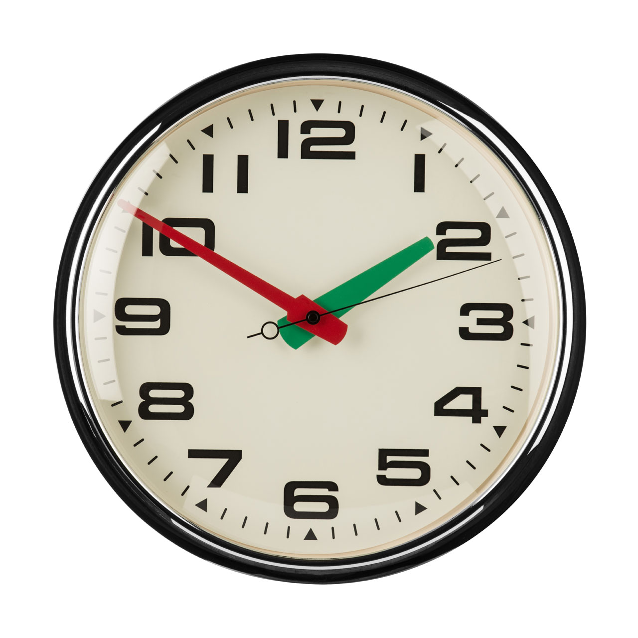 Details About Premier Housewares Retro Wall Clock Chrome Metal Red Green Hands