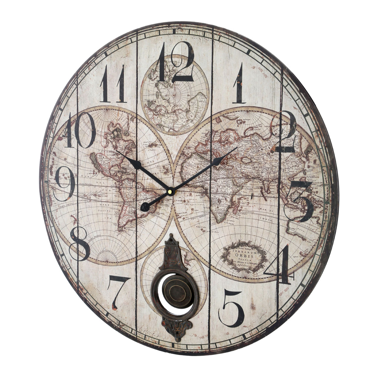 Premier housewares wall clock mdfpaper pendulum vintage look a wonderful feature on your wall the classic global wall clock with pendulum will bring a traditional look to your decor and a practical timepiece for gumiabroncs Image collections