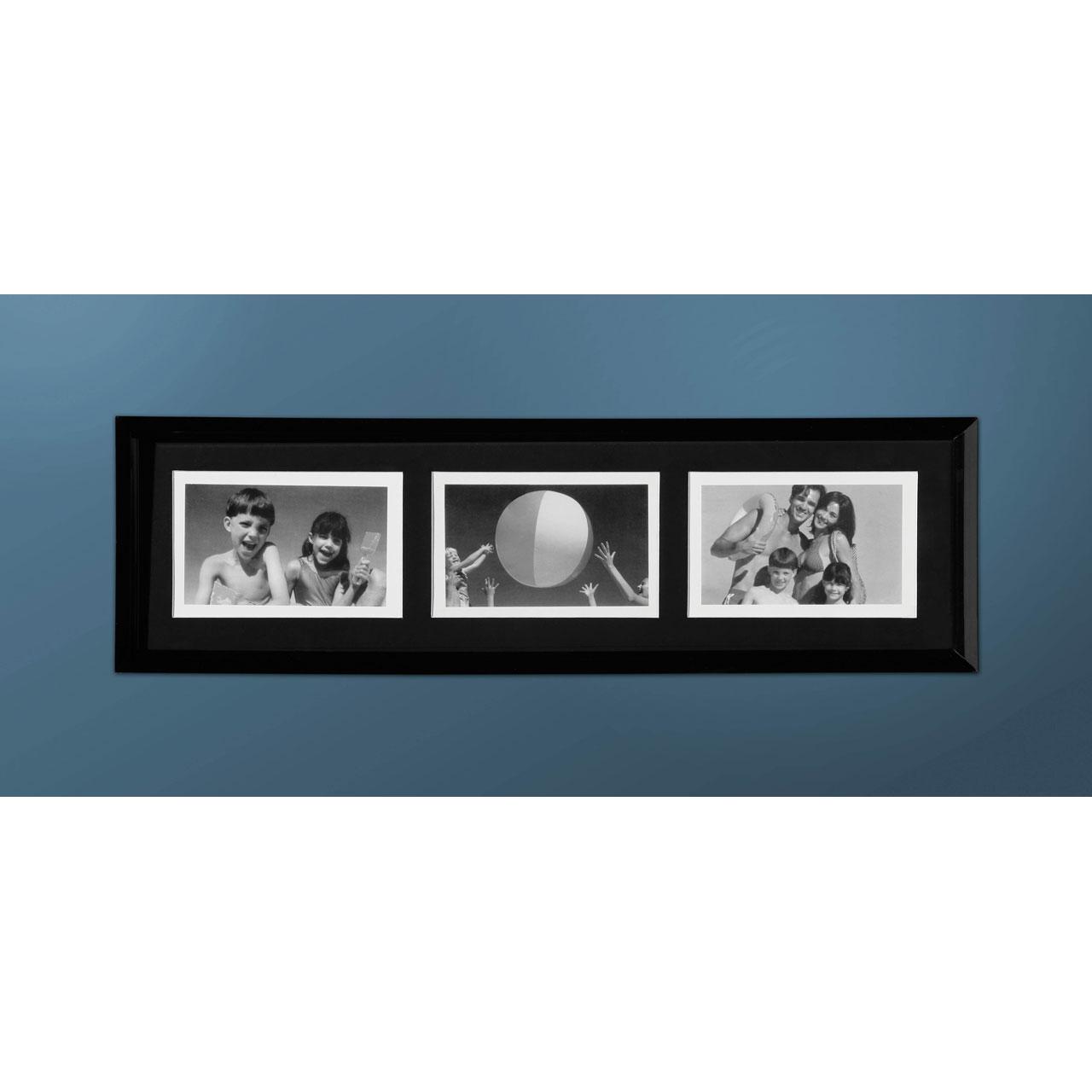 Photo Picture Frame Black Plastic 3 Picture 4 x 6\