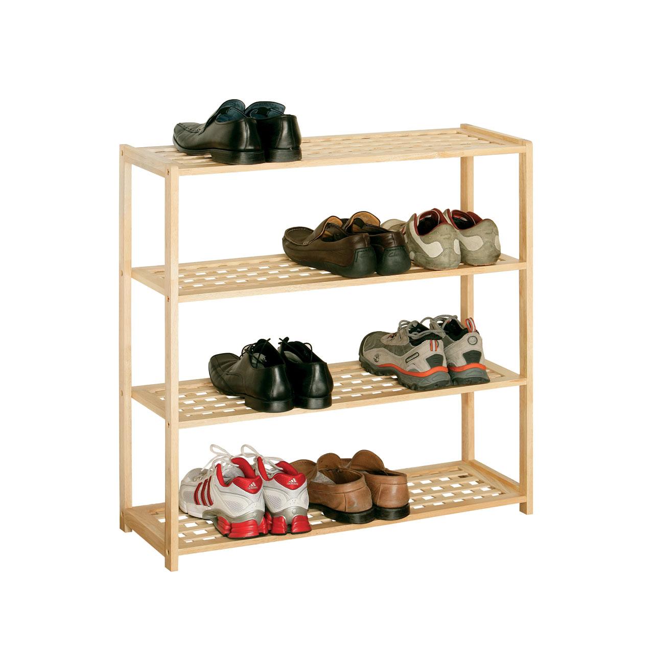 Hallway Natural Tropical Havea Wood Shoe Storage Rack Organizer 4 Tier Stand
