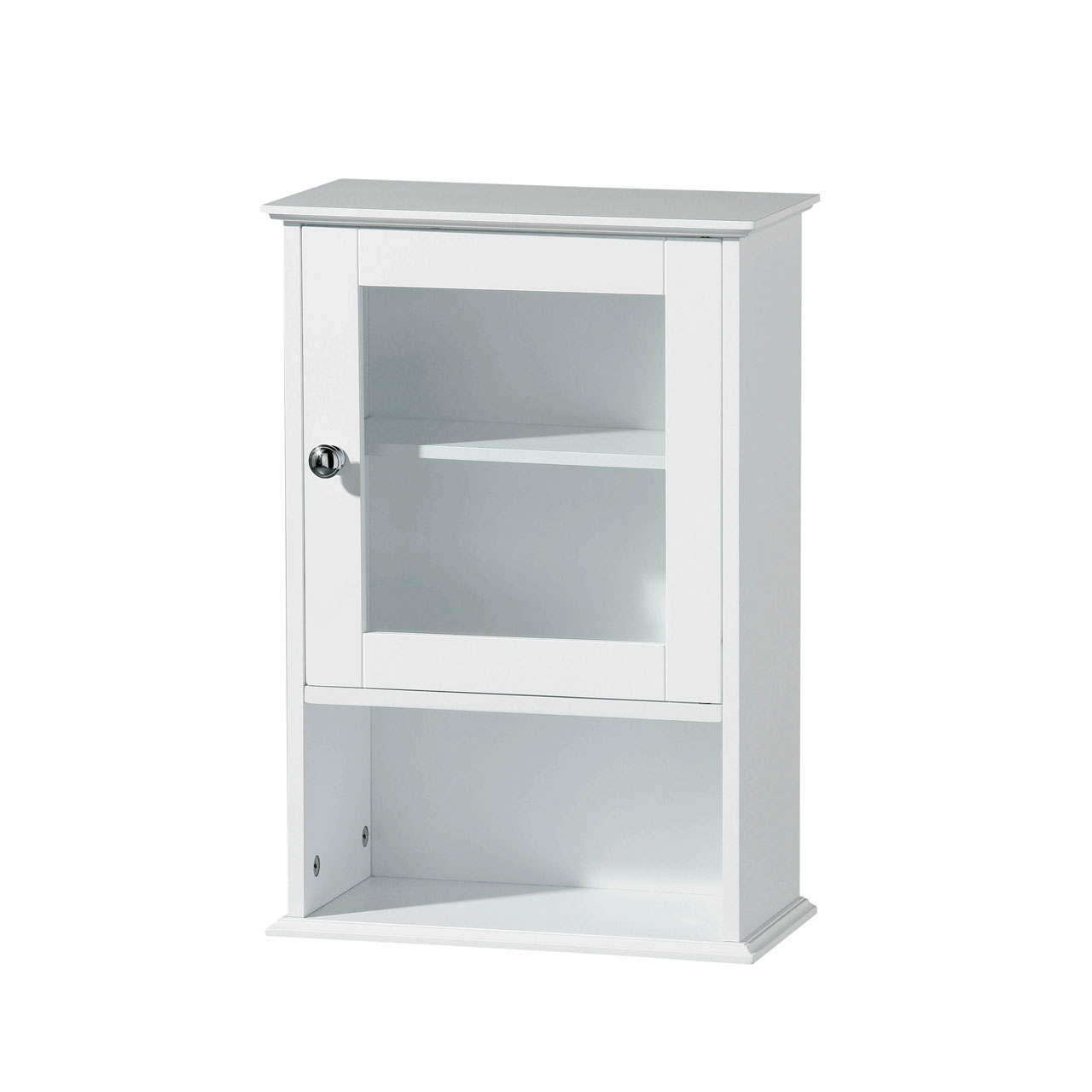 White Wood Wall Cabinet, Chrome Handle, 2 Shelves Bathroom Storage Organizer