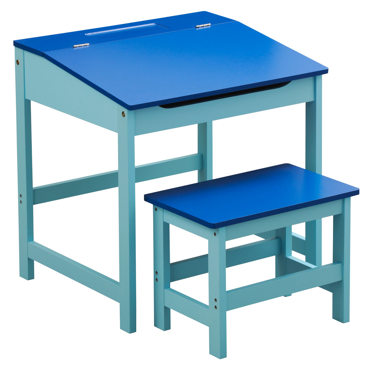 children s blue wooden desk stool hinged lid storage organizing