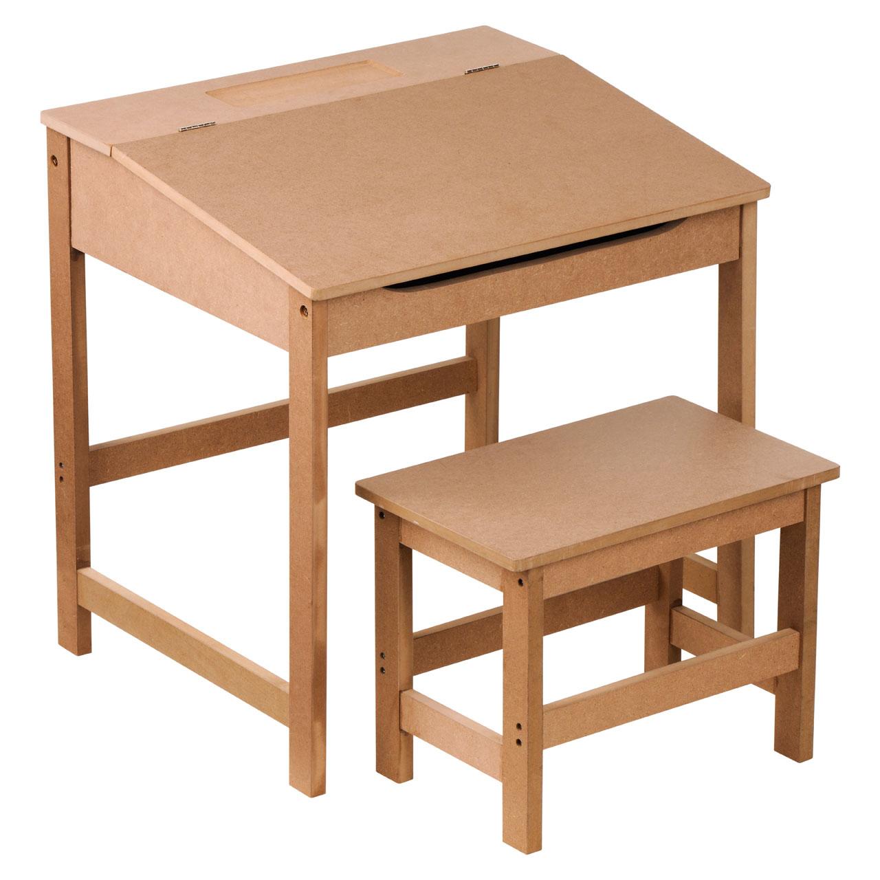 Children S Natural Brown Wood Desk Stool Hinged Lid Storage Organizing Rack