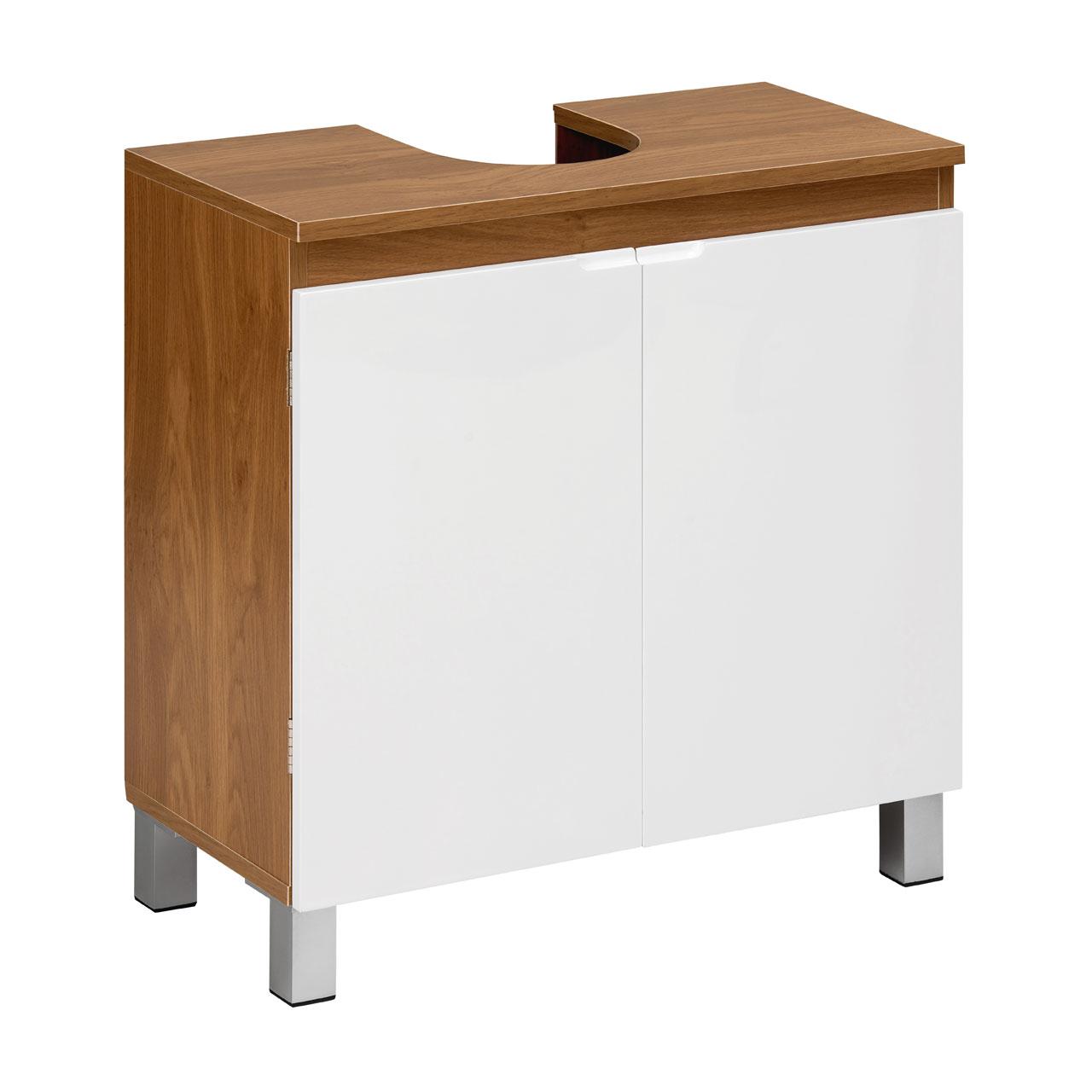Modern white high gloss under sink cabinet oak effect for Bathroom cabinets 70cm wide