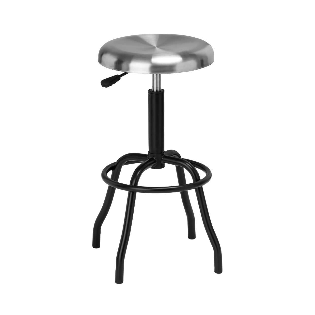 Silver Industrial Bar Stool Brushed Stainless Steel Seat Café ...