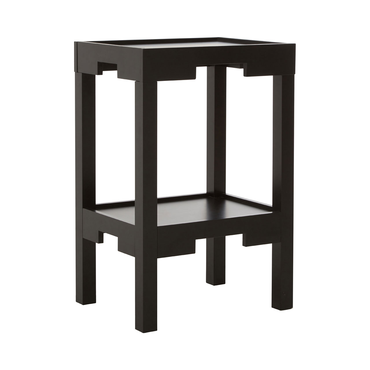 Dark Wood Coffee Table With Storage Uk: Home Hall Black Wooden Side End Coffee Table Storage Shelf