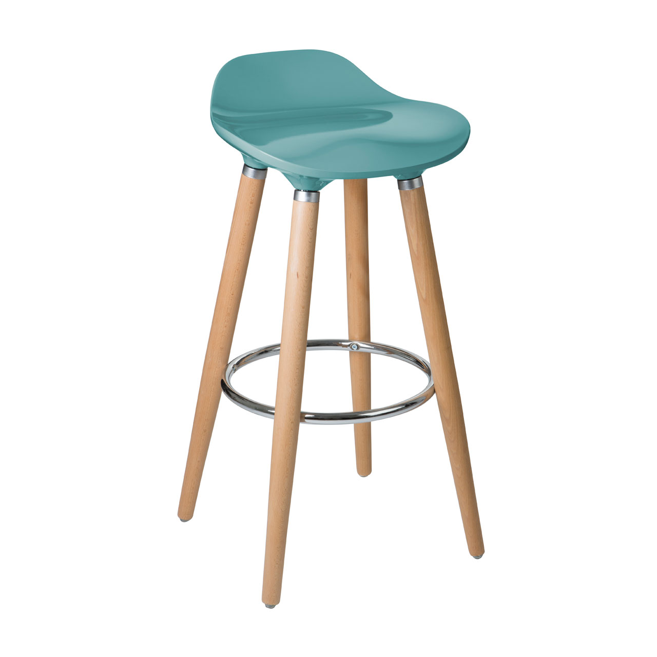 Teal Blue Bar Stool Beechwood Abs Gloss Finish Seat Kitchen Breakfast Cafe Chair Ebay