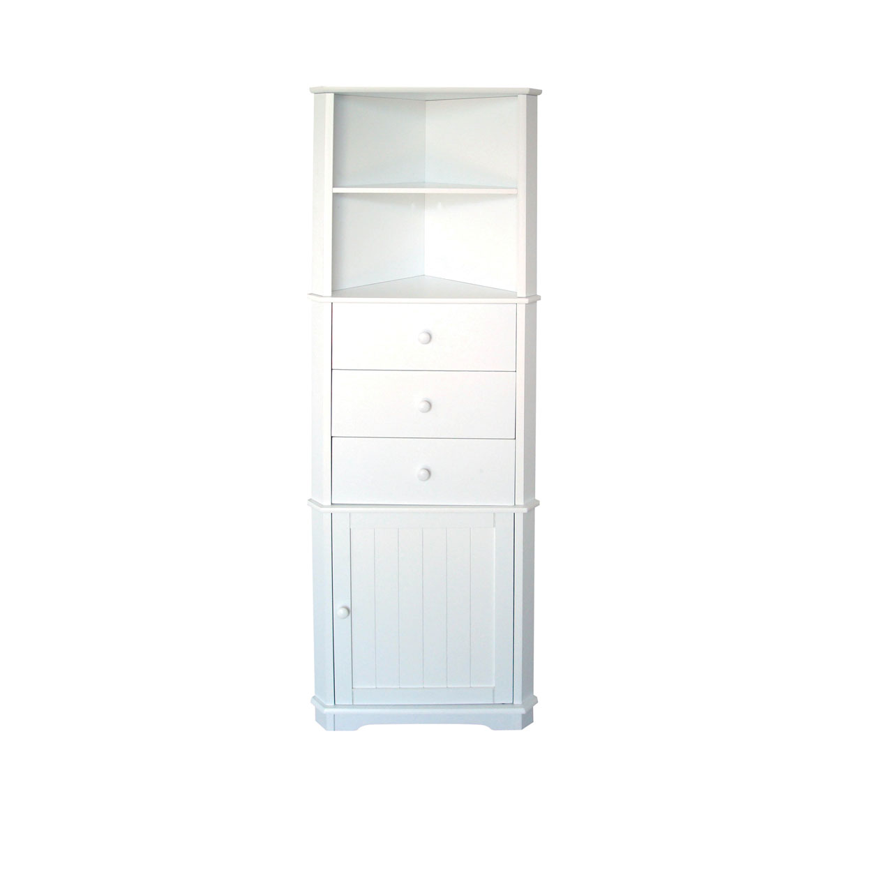 Premier Housewares Corner Storage Unit White Finish Wood 3 Drawers 2 Shelves