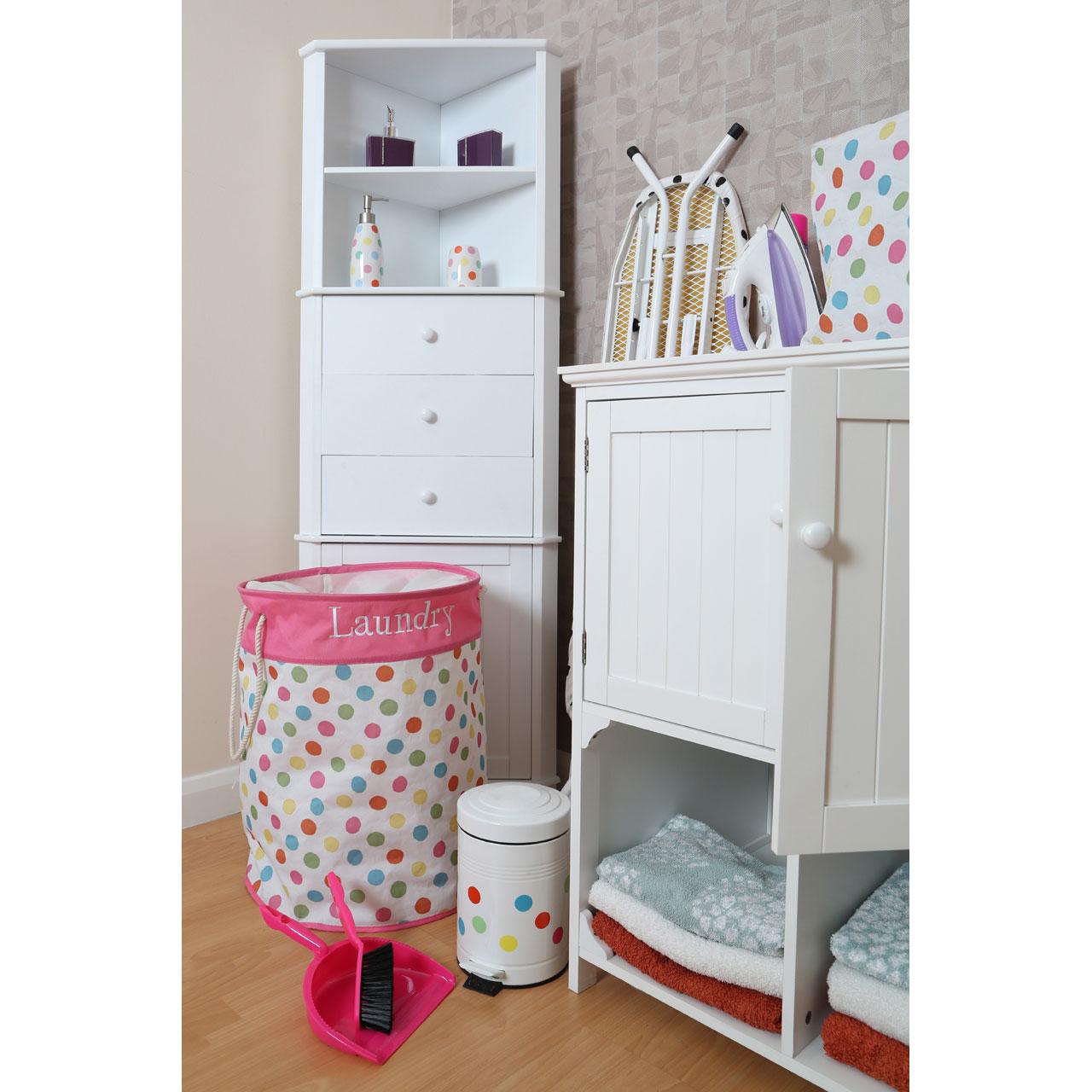Dining Room Storage Ideas To Keep Your Scheme Clutter Free: Premier Housewares Corner Storage Unit, White Finish Wood