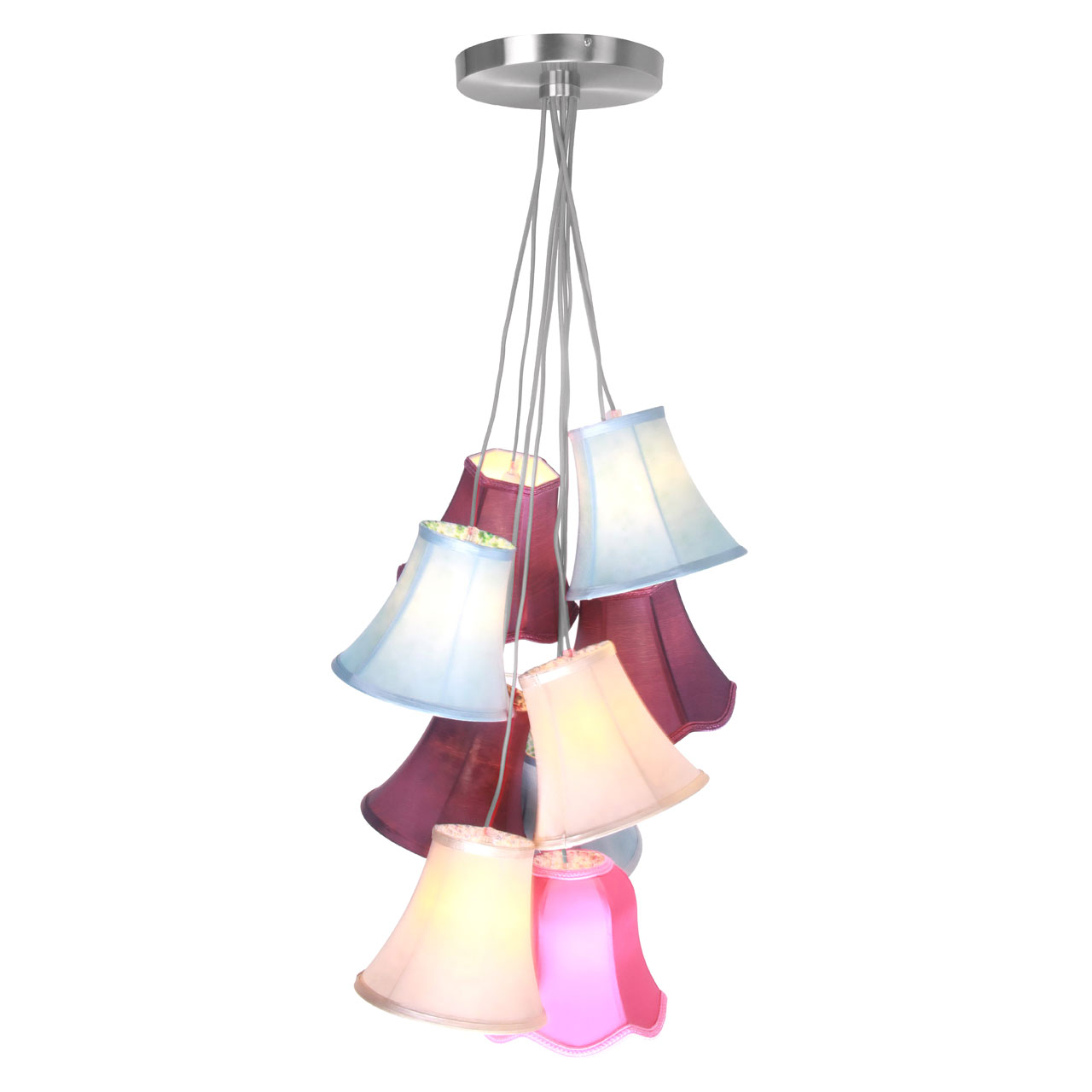 free shipping 2946c 4e19c Details about Pendant Light 9 Multicoloured Shades Contemporary Ceiling  Lamp Chandelier