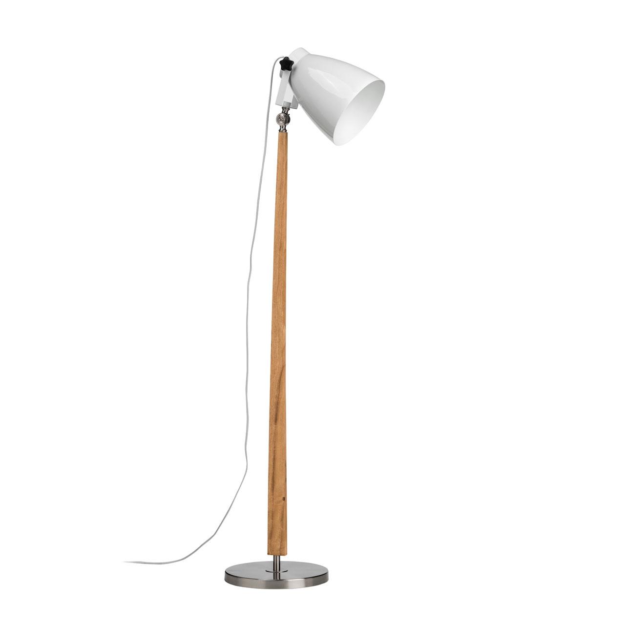 Details About Premier Housewares Stockholm Floor Lamp Nickel Light Wood Base White Shade