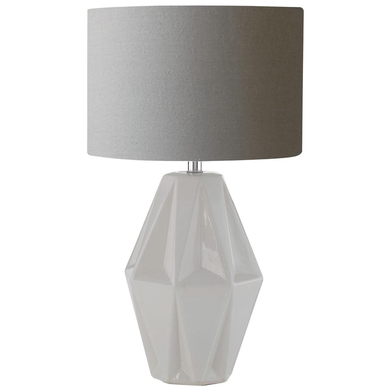 jenna table desk lamp grey ceramic base fabric shade living room rh ebay co uk
