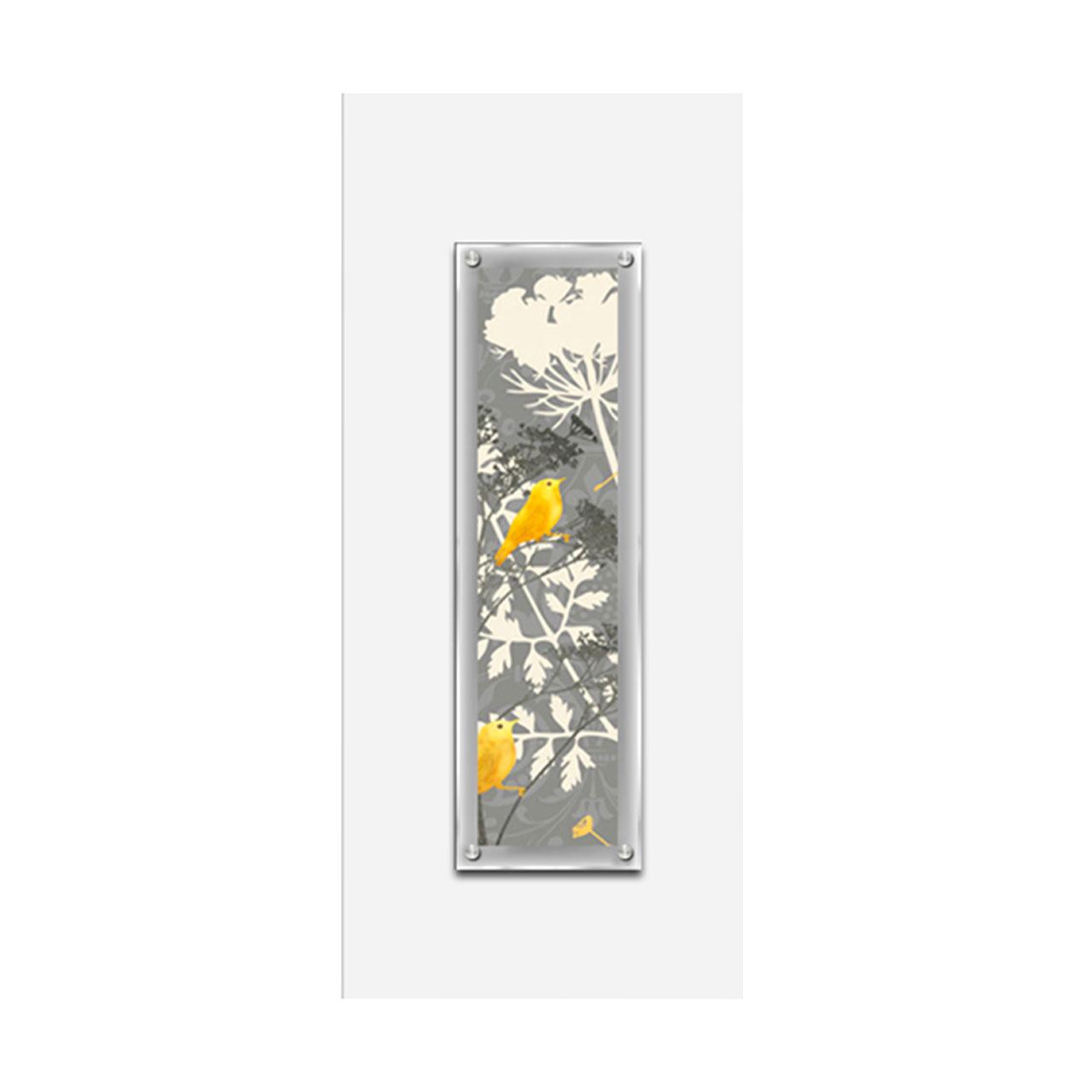 Premier 80x35cm Glass Wall Art with White Frame & Bird Print Modern ...