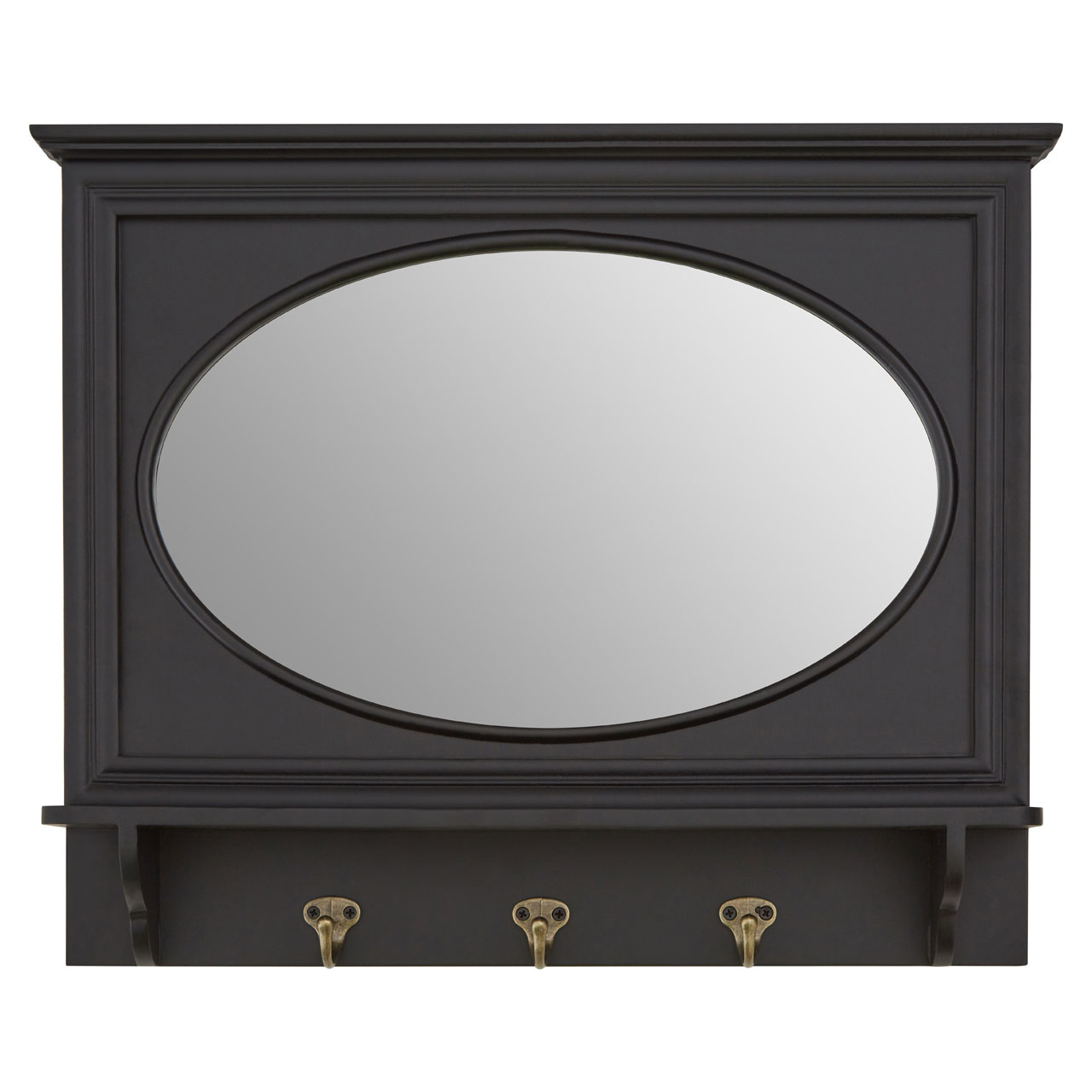 Premier Whitley Entryway Wall Mirror, 3 Hooks, Black Frame Oval ...