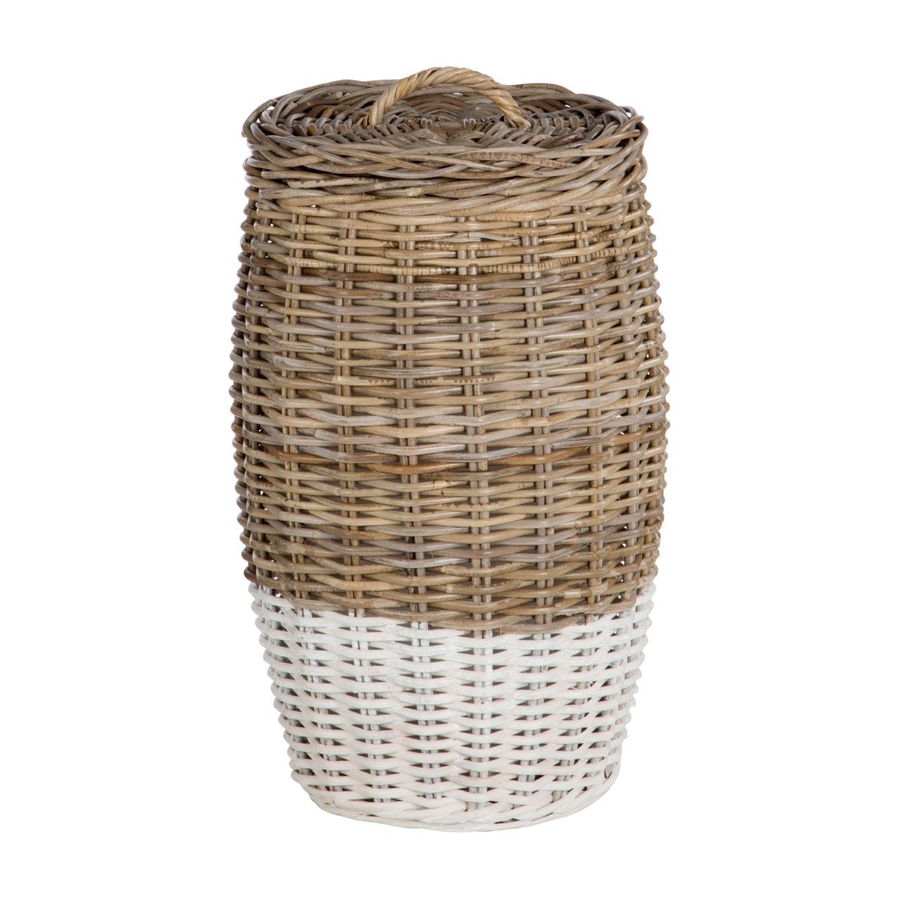 Natural Kubu Rattan Round Laundry Basket Clothes Storage Organizer Hamper