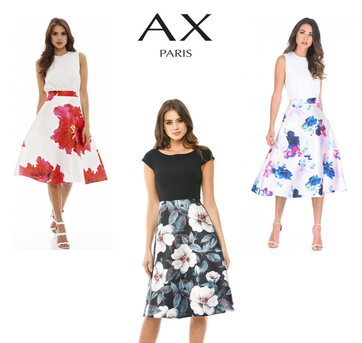 3e013c522bfadf Details about AX Paris Womens 2 in 1 Floral Print Midi Skater Dress, Ladies  Casual Wear