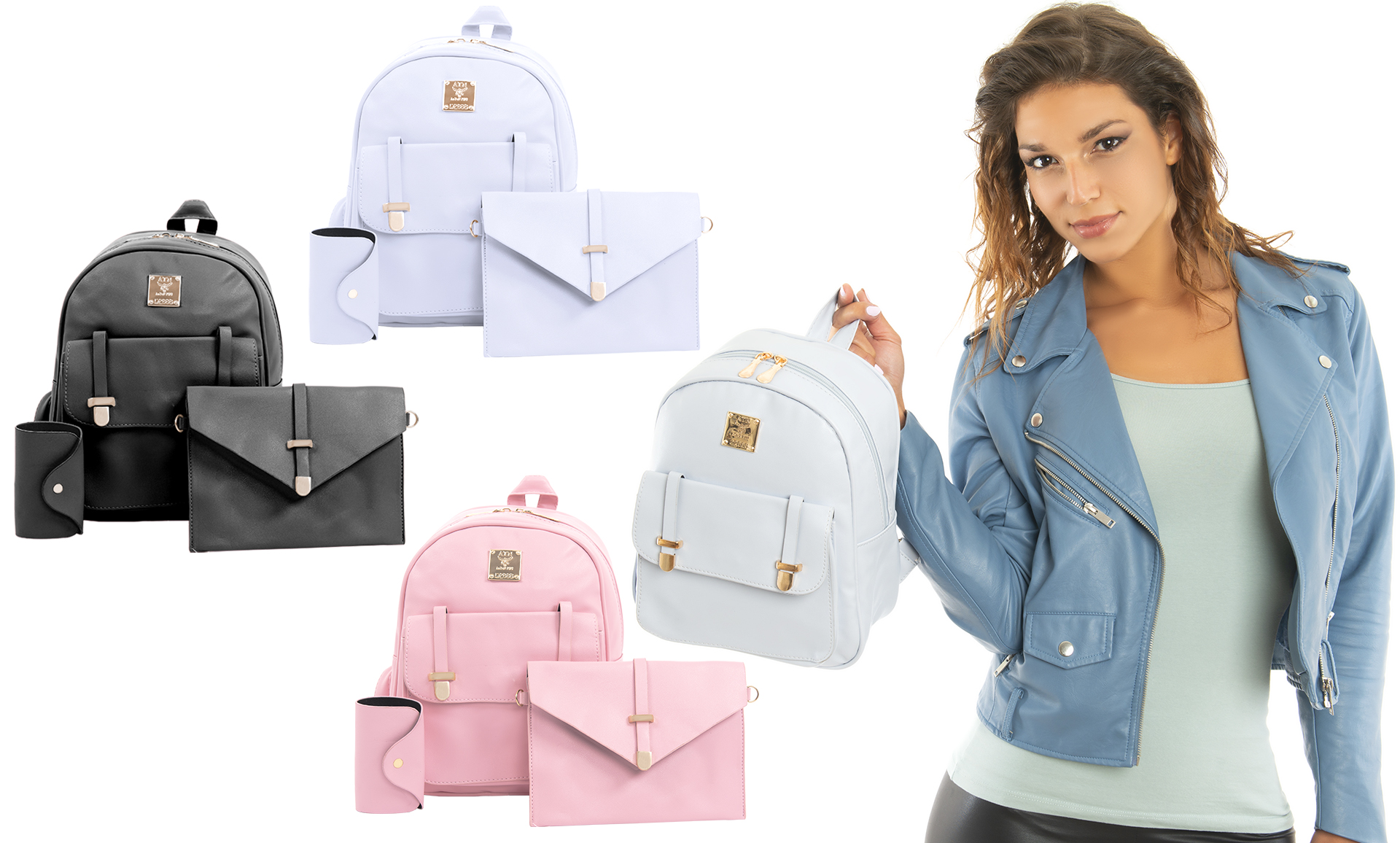 c1df0c64607f 3 Pcs Womens PU Leather Backpack Ladies Travel Handbag Purse Set in 3  Colours