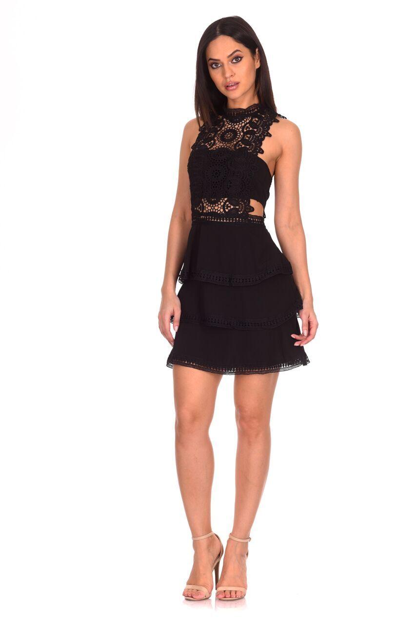 6e4136fabb67 AX Paris Womens Black Crochet Mini Skater Dress Sleeveless High Neck ...