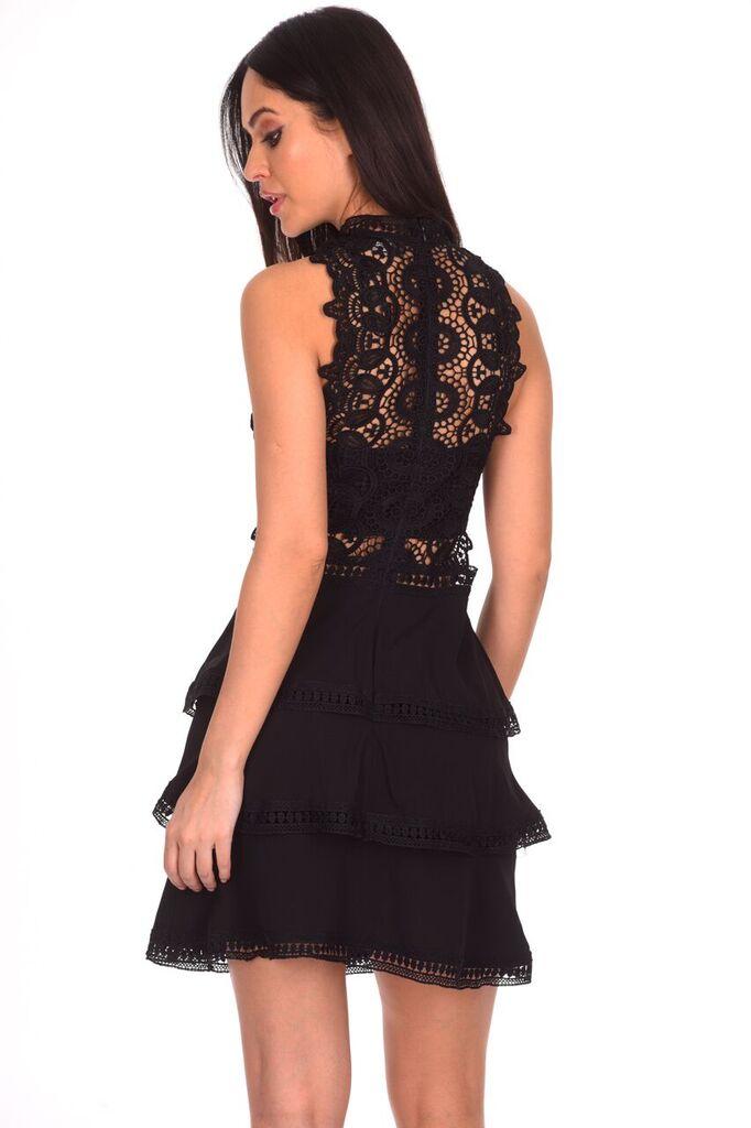 5b34f41c1ce4 AX Paris Womens Black Crochet Mini Skater Dress Sleeveless High Neck Party