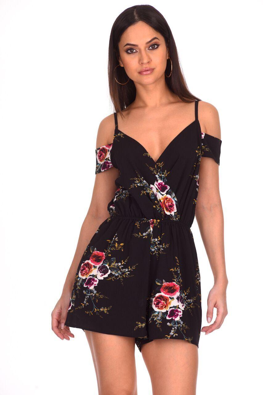 05672fbdc34 Details about AX Paris Womens Playsuit Black Floral Printed Cold Shoulder  Ladies Romper