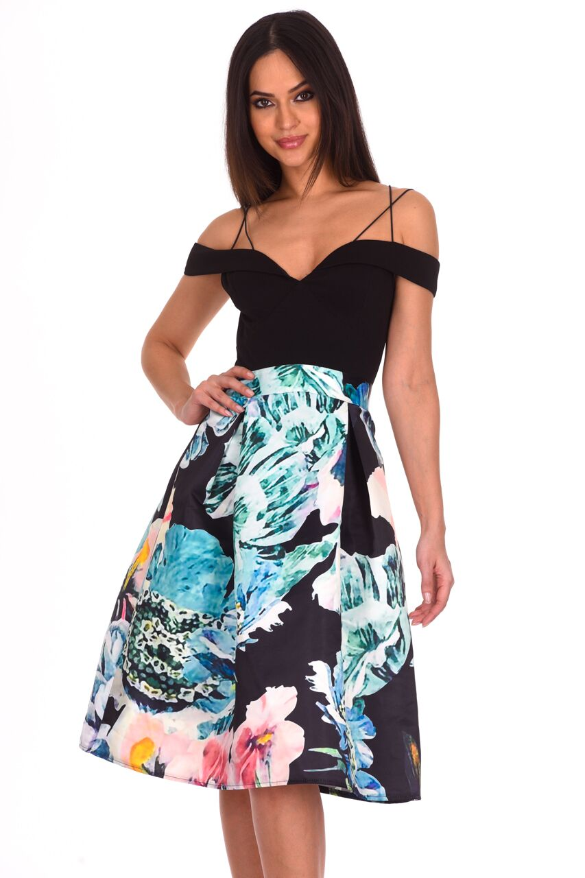 bf0874a005 Details about AX Paris Womens Midi Skater Dress Black Floral Printed  Strappy Sweetheart Neck