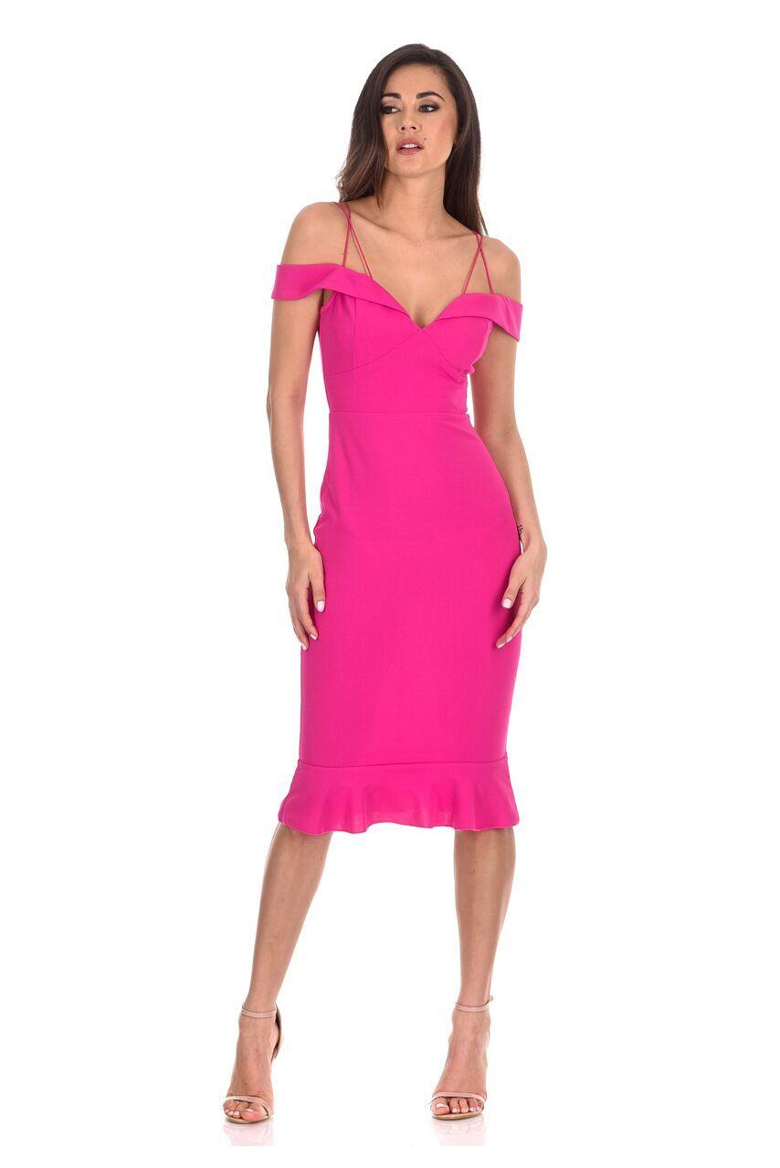 AX Paris Womens Midi Dress Cerise Pink Off The Shoulder Fishtail ...