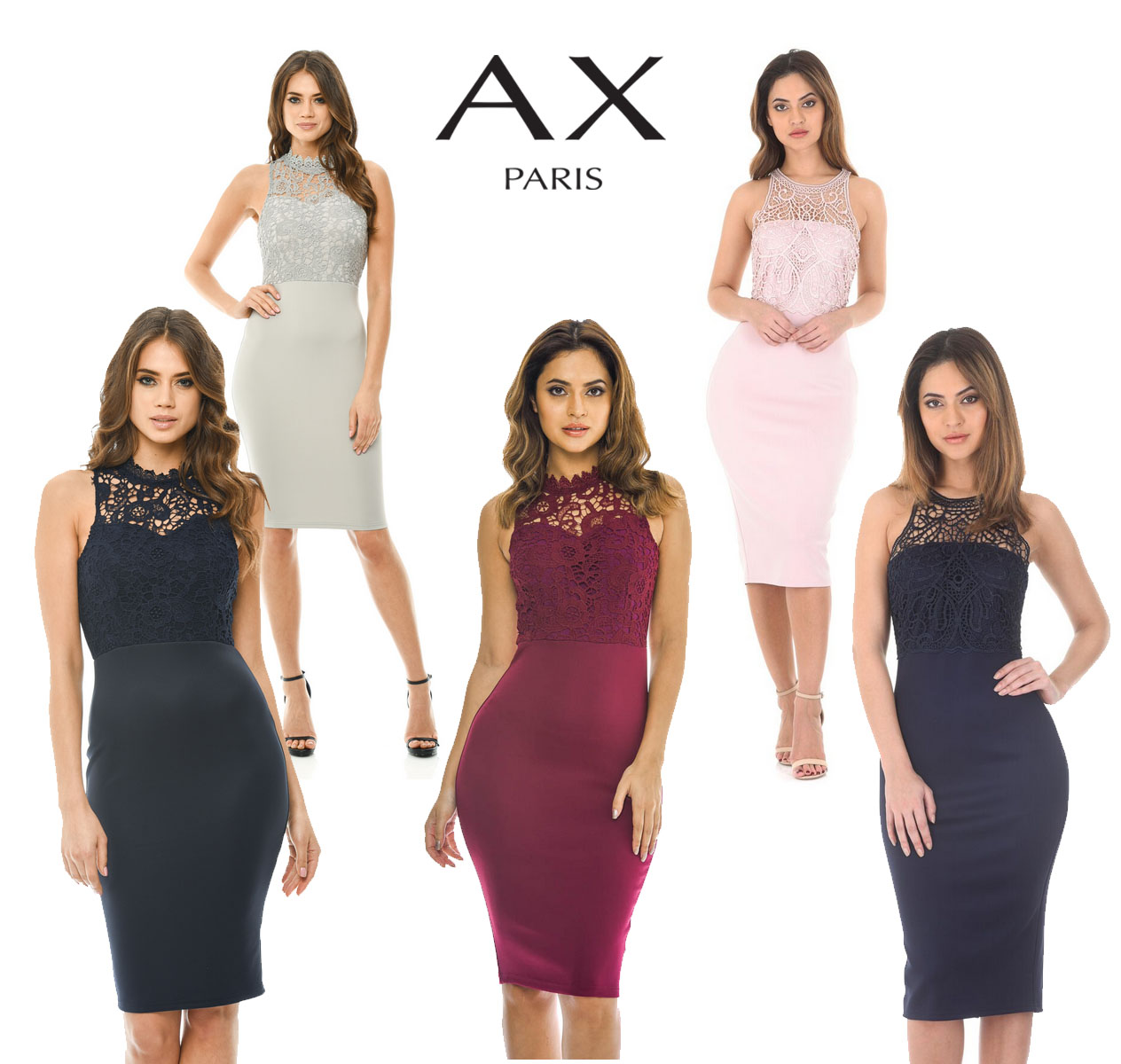 ea9106c99798 AX Paris Womens Crochet Top Midi Bodycon Dress