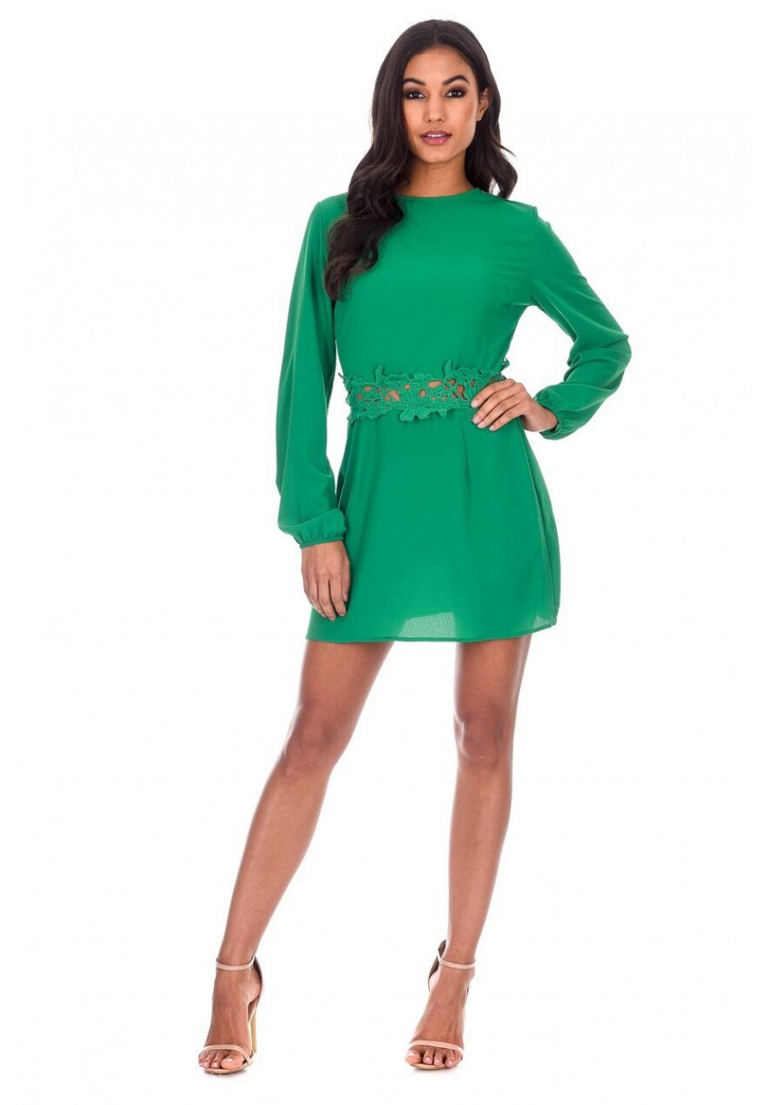 AX Paris Womens Mini Dress Green Crochet Waist Long Sleeved Crew ...