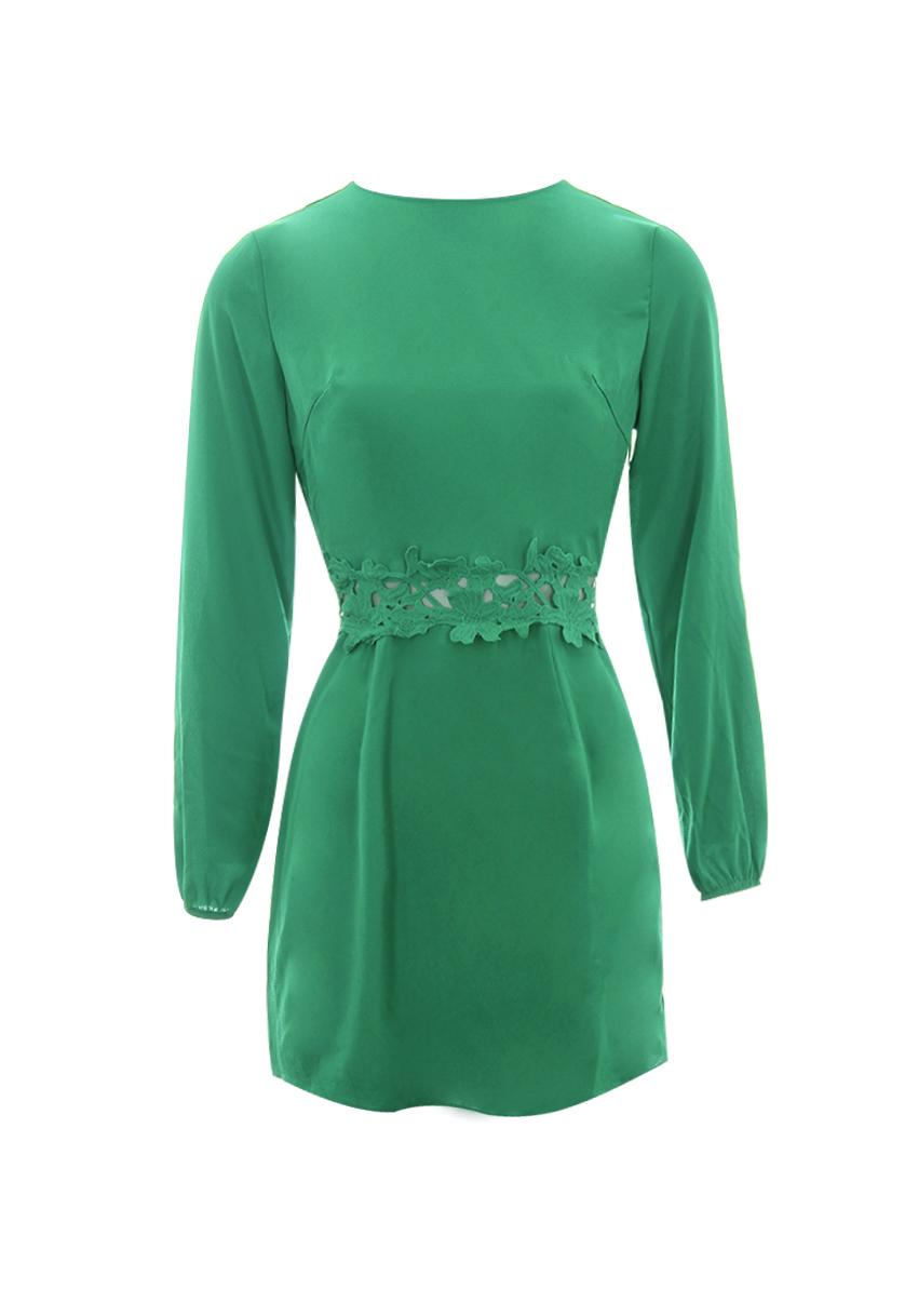 AX Paris Womens Mini Dress Green Crochet Waist Long Sleeved Crew ...