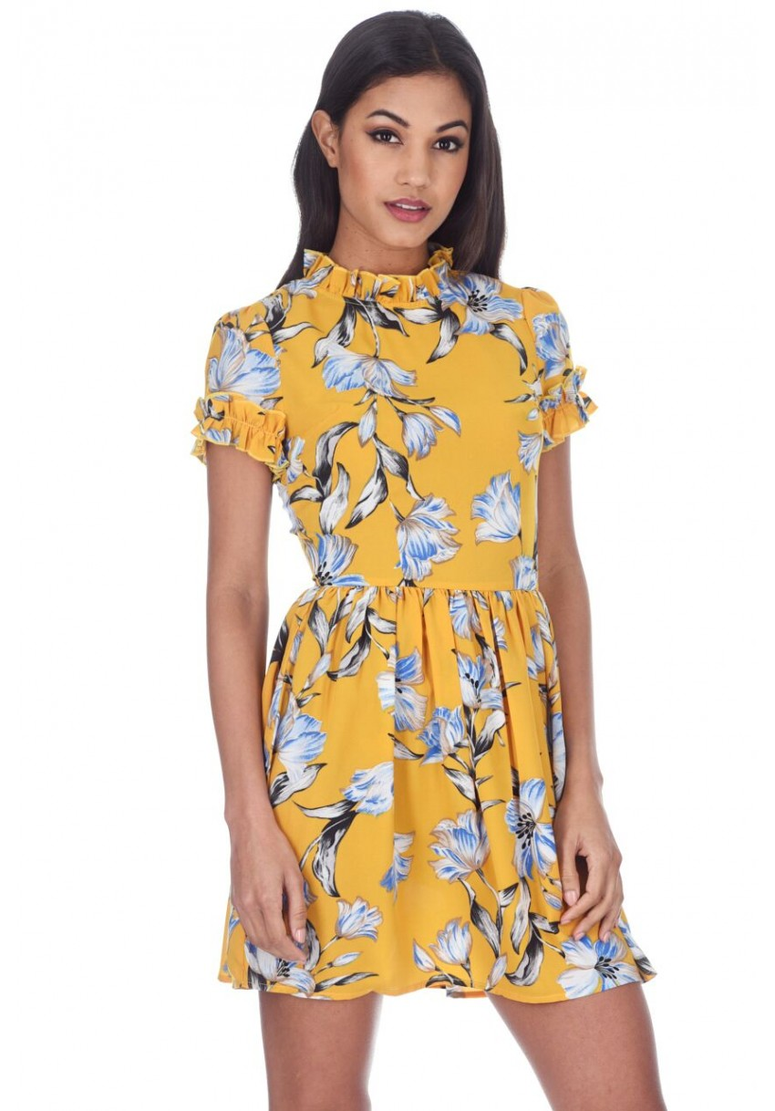 927d28b54d33e Details about AX Paris Womens Mini Dress Yellow Floral Print Frill Detail  High Neck Summer