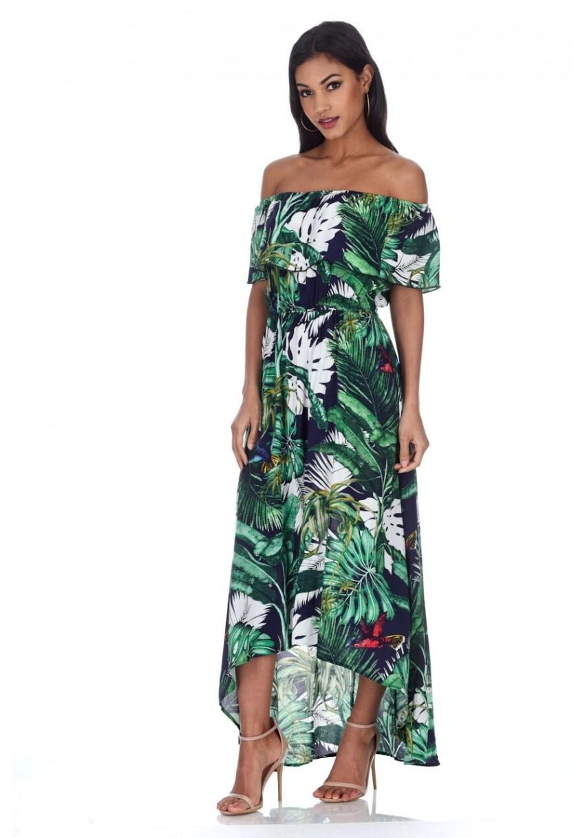 Pink palm print bardot dress | Bardot dress, Womens dresses