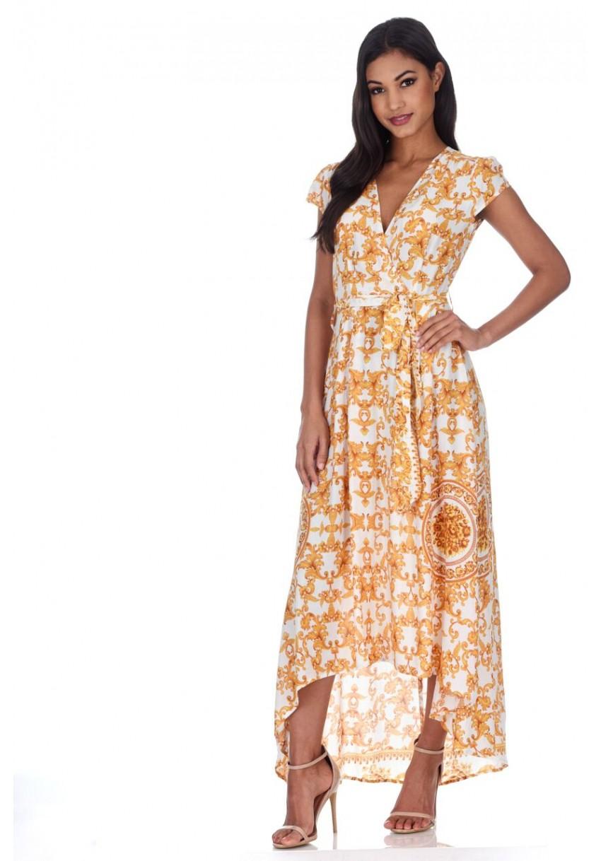 Details about AX Paris Womens Maxi Dress Cream   Gold Patterned Wrap Over V  Neck Summer 4bec49b82