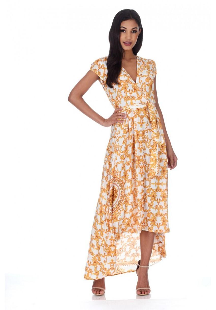 AX Paris Womens Maxi Dress Cream   Gold Patterned Wrap Over V Neck ... 742785365