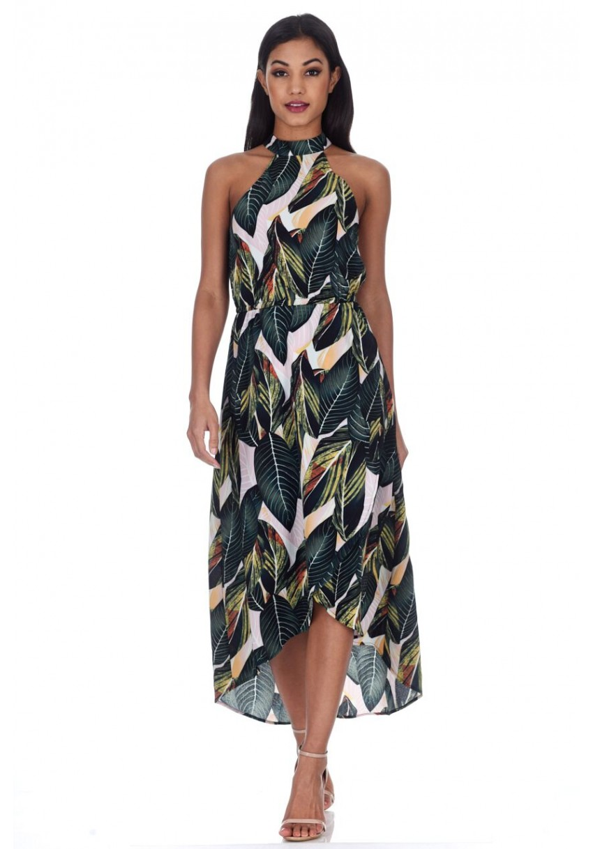 63392b271 AX Paris Womens Midi Dress Leaf Print Asymmetric Choker Neck Summer ...