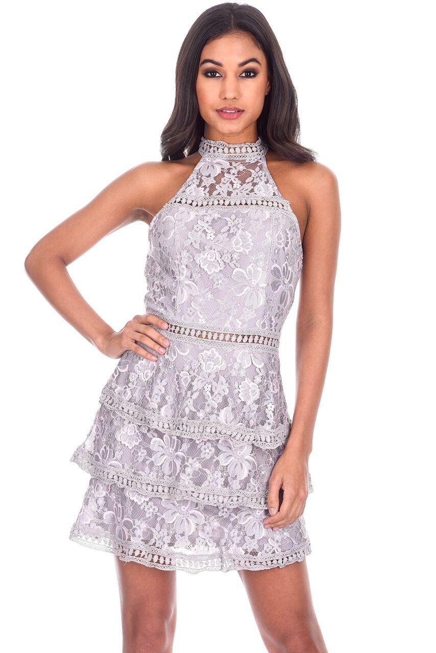 58826373a562 AX Paris Womens Mini Dress Grey Crochet Layered High Neck Sleeveless Party
