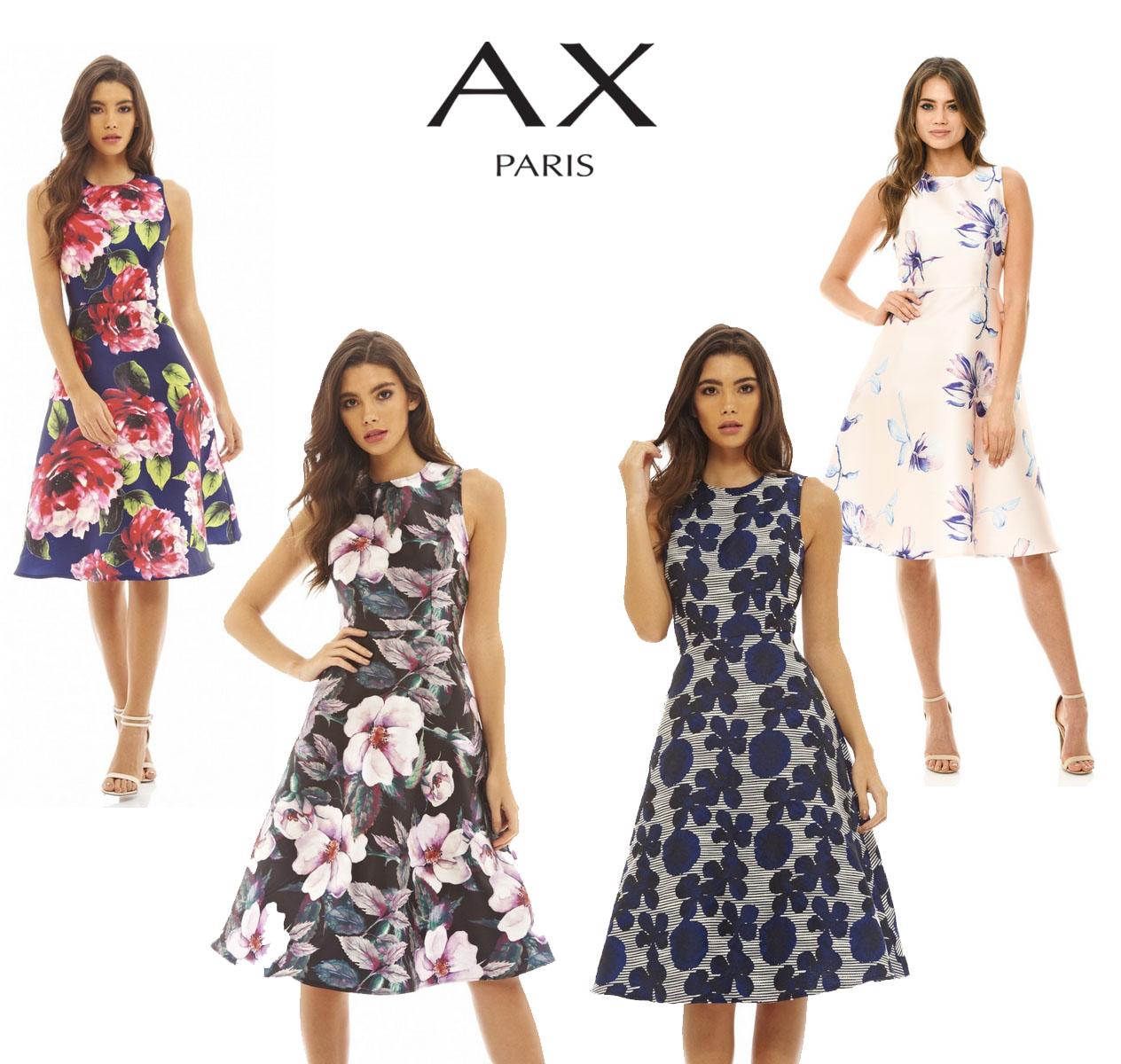 26caf1e99a45fb AX Paris Womens Floral Printed Midi Skater Dress, Ladies Casual Wear ...