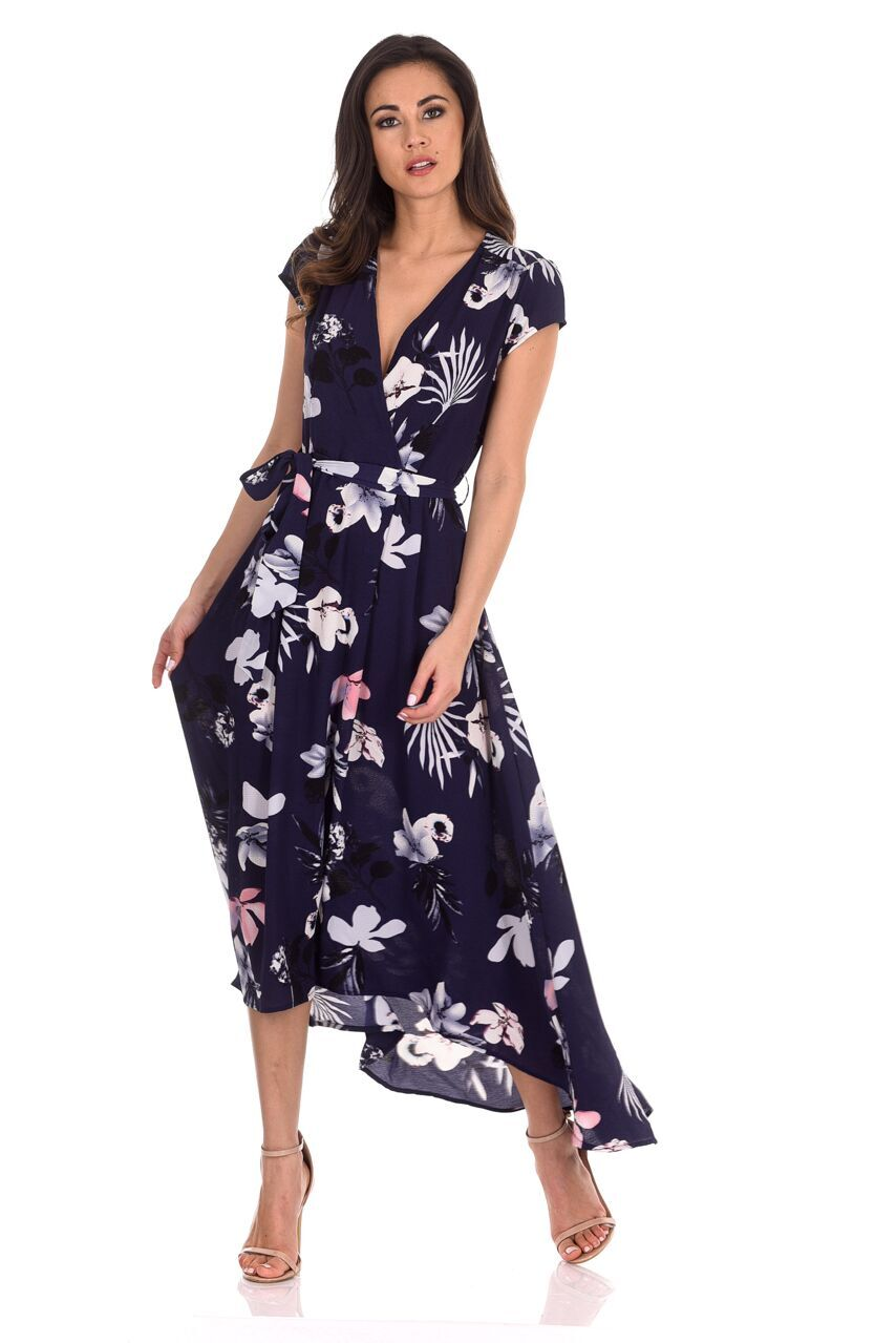 708ad8a40907 AX Paris Womens Maxi Wrap Dress Navy Blue Floral Short Sleeve V Neck Casual
