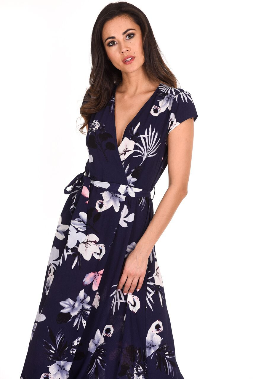 1fb5c175345e AX Paris Womens Maxi Wrap Dress Navy Blue Floral Short Sleeve V Neck ...