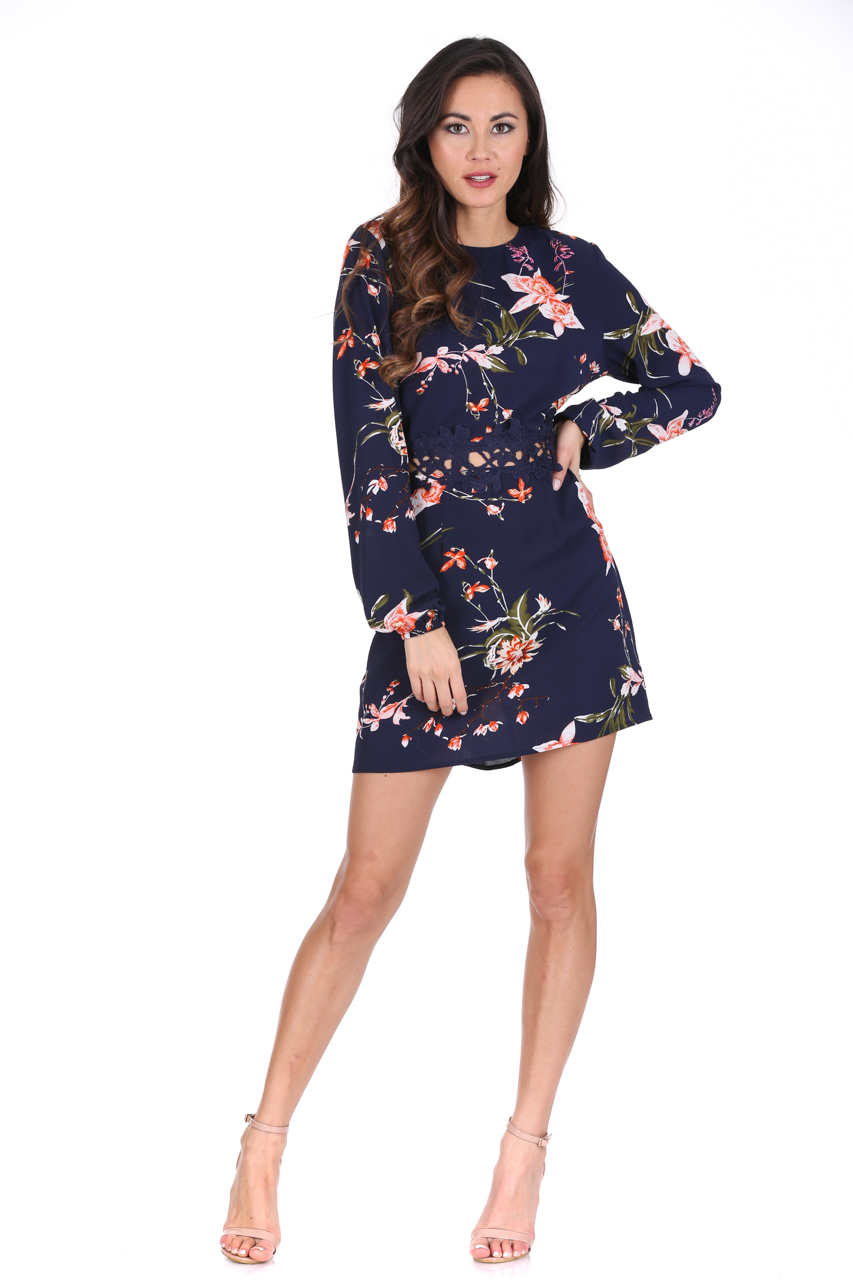 5aa5335891 AX Paris Womens Mini Dress Navy Floral Print Crochet Waistband Long ...