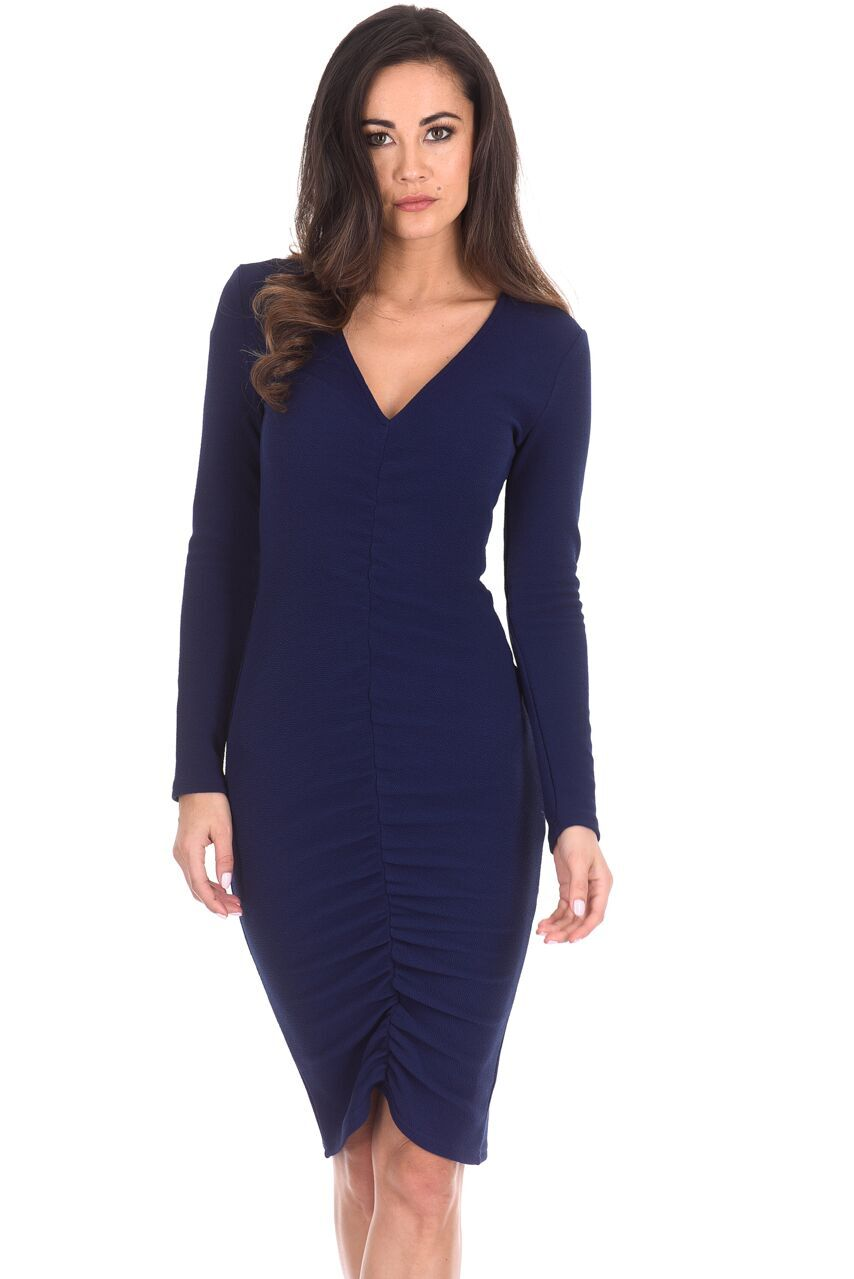 Details about AX Paris Womens Midi Bodycon Dress Navy Blue Ruched Long  Sleeved V Neck c90f1490f7