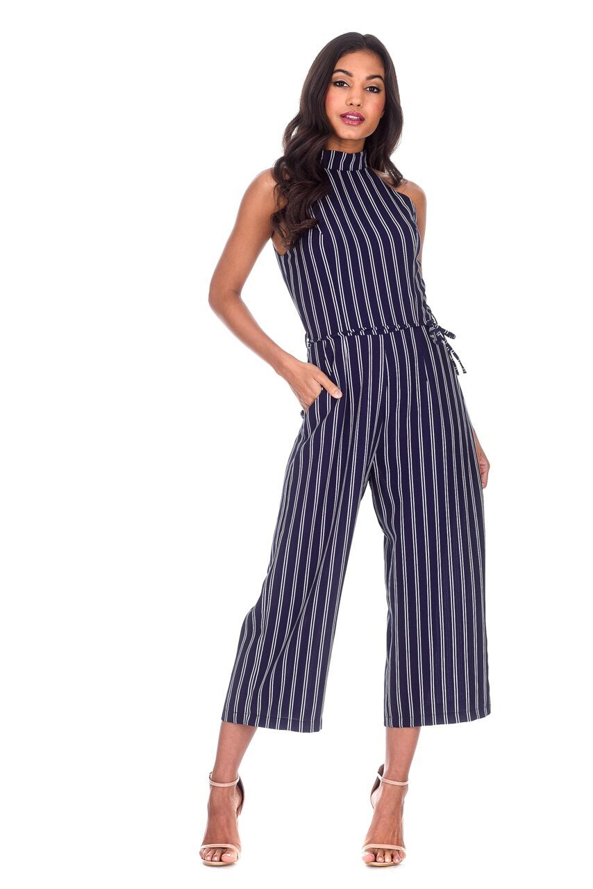 e5346e1e2b3c AX Paris Womens Navy Blue Striped Culotte Jumpsuit Sleeveless High ...