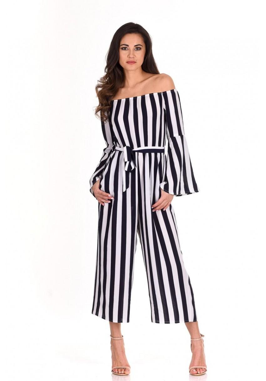 5417adb2f17 Details about AX Paris Womens Jumpsuit Navy Blue Striped Off The Shoulder  Long Sleeve Ladies