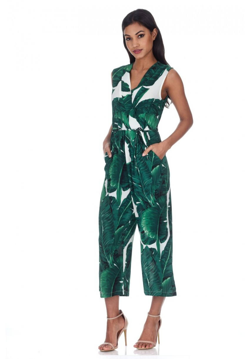 be51cb358dd AX Paris Womens Tropical Print Jumpsuit With V-Neckline