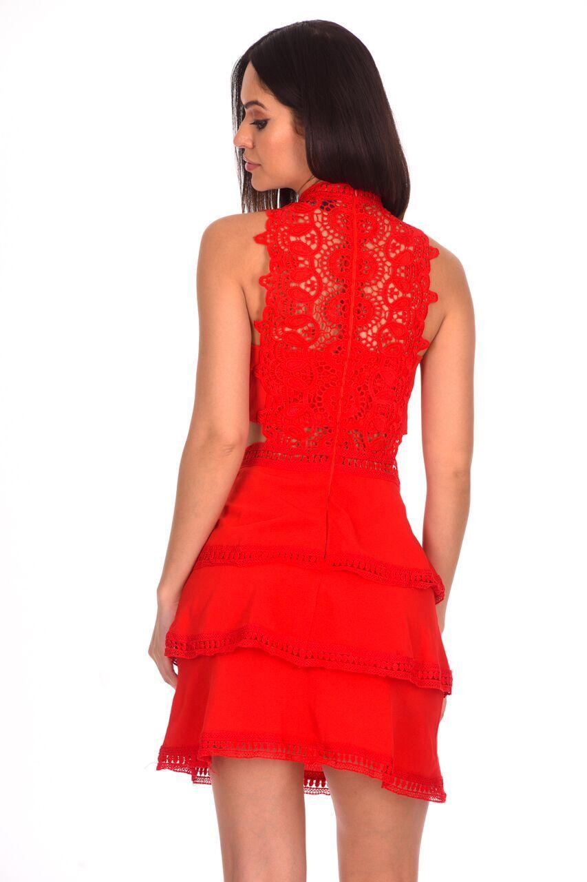 94ce76de5097 AX Paris Womens Red Crochet Mini Skater Dress Sleeveless High Neck Party