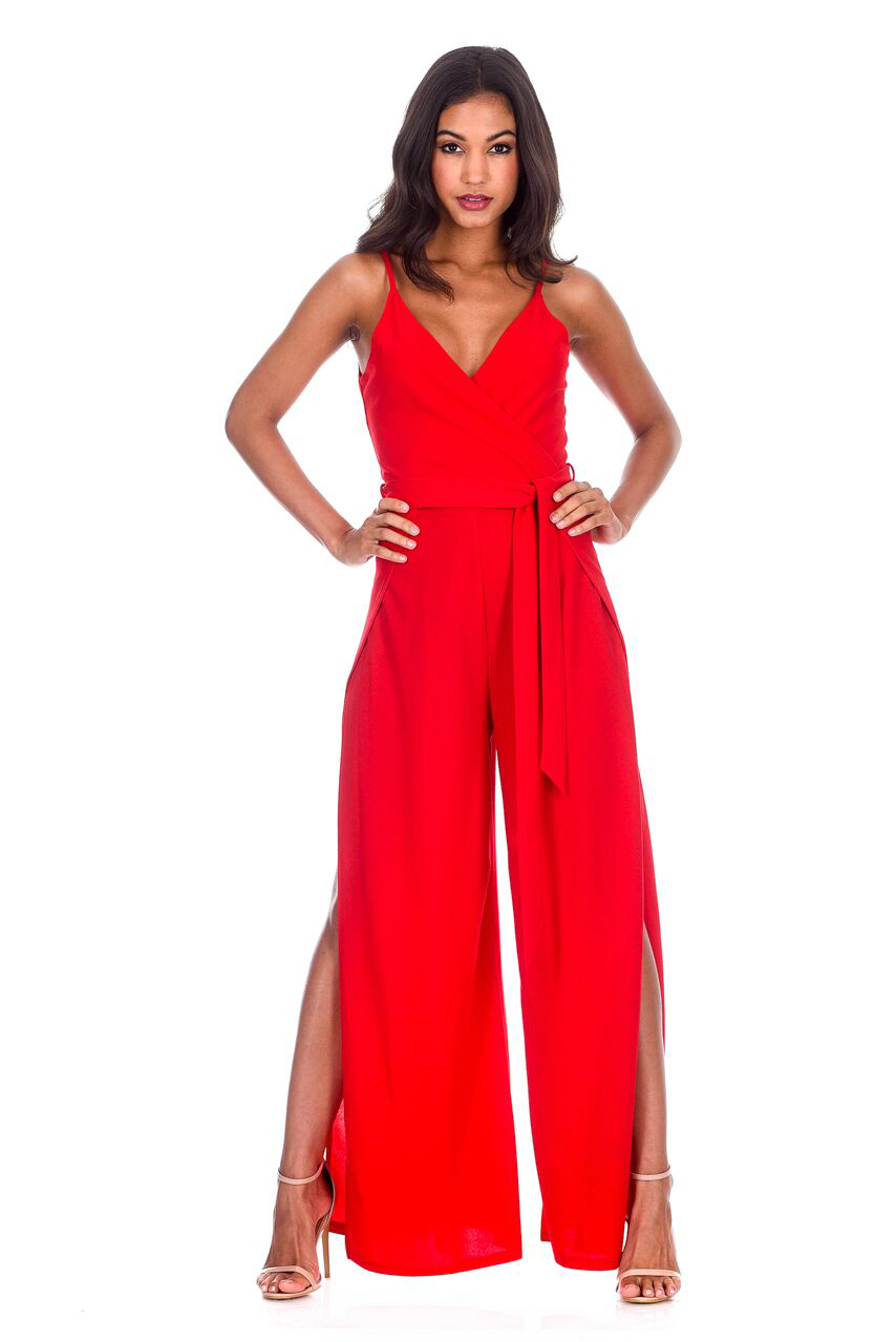 eaa29e1cacc AX Paris Womens Red Wide Leg Thigh Split Jumpsuit Sleeveless V Neck Strappy